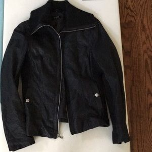 Black leather Guess motorcycle jacket